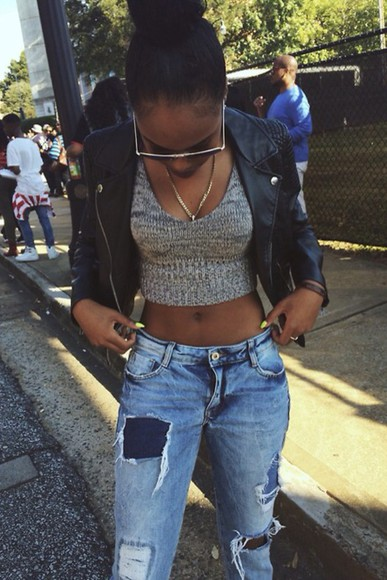 grey sweater blouse cardigan crop tops leather jacket leather skirt jeans