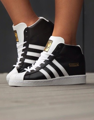 shoes adidas black and white black white and gold sneakers high top sneakers adidas shoes adidas superstars