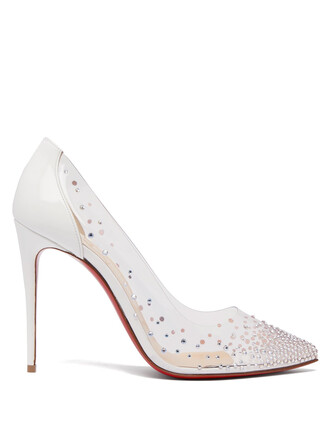 embellished pumps white shoes