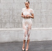 dress,lace dress,white,transparent,sweet,hot,white lace dress,two piece dress set,two-piece,floral,nude,crop tops,crop,pencil skirt,skirt