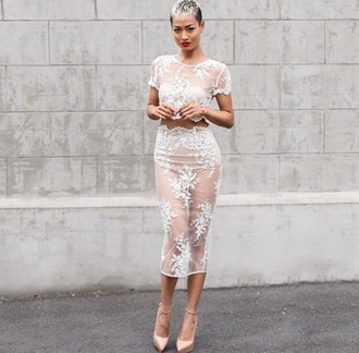 dress white transparent sweet hot white lace dress lace dress two piece dress set two-piece floral nude crop tops crop pencil skirt skirt