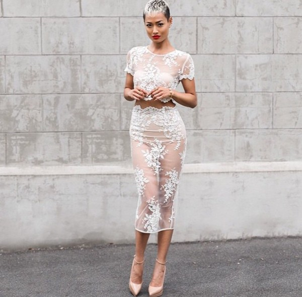 dress lace dress white transparent sweet hot white lace dress two piece dress set two-piece floral nude crop tops crop pencil skirt skirt