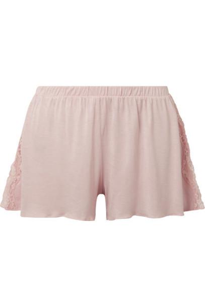 Skin shorts pajama shorts pastel lace pink pastel pink