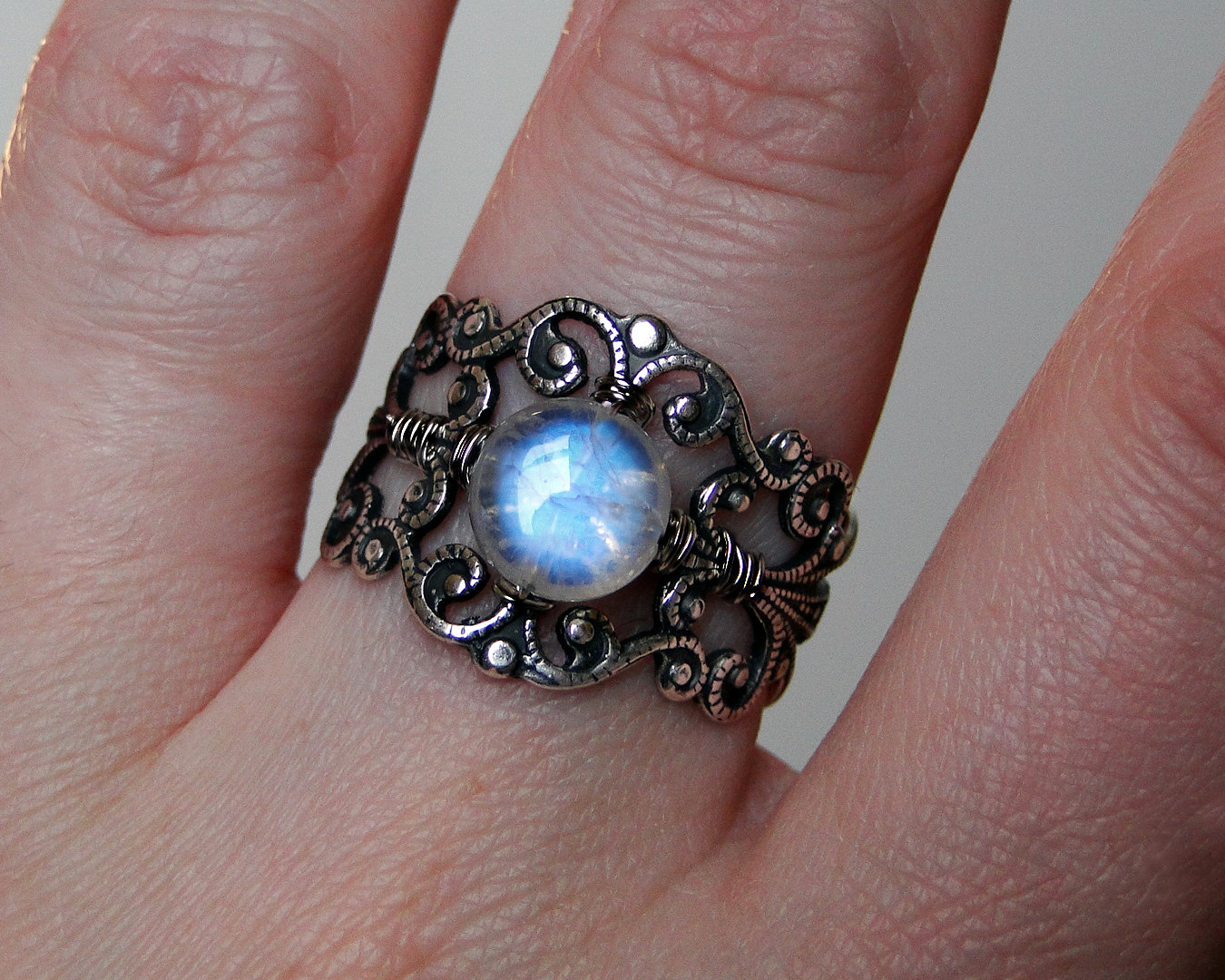 Moonstone Ring, Filigree Ring, Adjustable Ring on Etsy by CircesHouse--