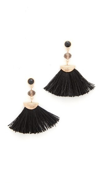 tassel earrings black jewels