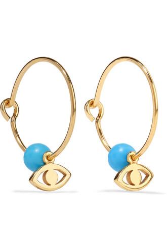 earrings hoop earrings gold turquoise light blue light blue jewels