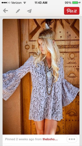 headband dress lace dress bell sleeve necklace