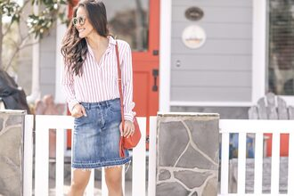 skirt denim skirt frayed denim skirt mini skirt striped shirt shirt blogger blogger style crossbody bag gucci bag