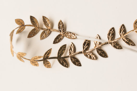 Gold Leaf Headband  Halo Headband  Greek by StellaArborBoutique