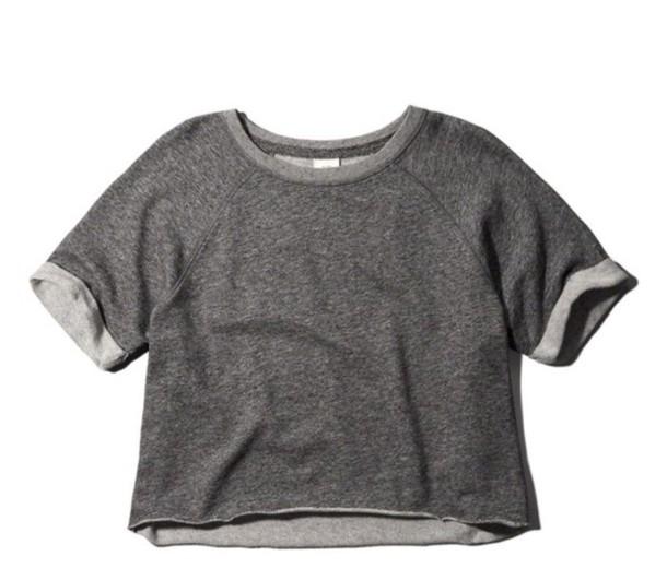 4e5580881cf top, crop tops, short sleeve, grey, sweatshirt, summer, winter ...