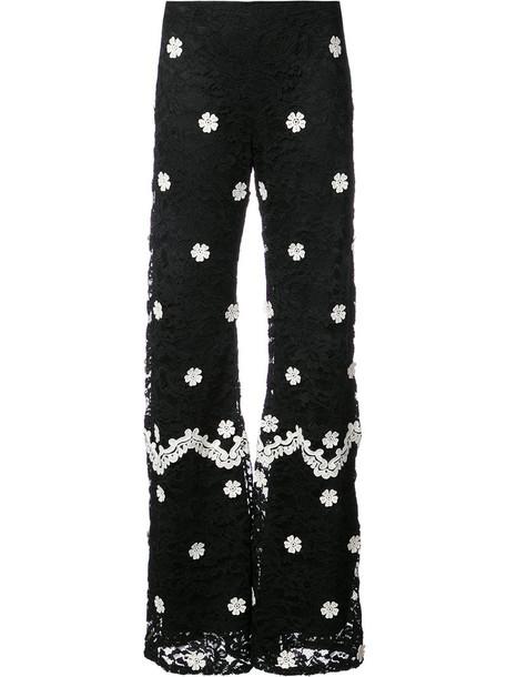 Alexis women spandex lace floral cotton black pants