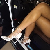 shoes,white,pointed toe pump,straps,heels,high heels,lace