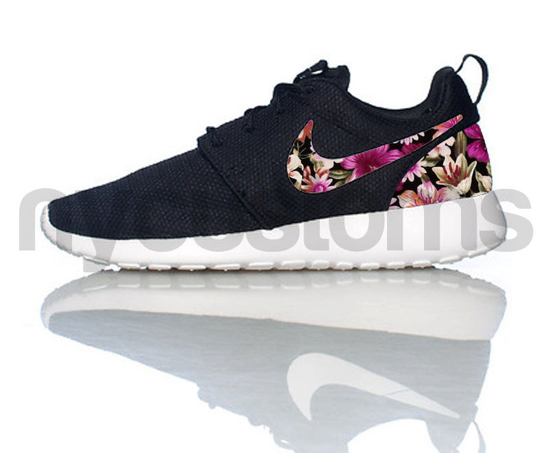 Nike Roshe Run Black White Floral Bouquet Print Custom Womens