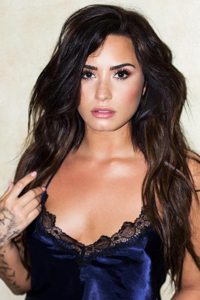 top black lace demi lovato blue underwear lace bralette celebrity style lingerie nightwear