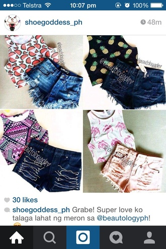 top crop tops pattern tight watermelon print aztec pineapple palm tree print black white pink red