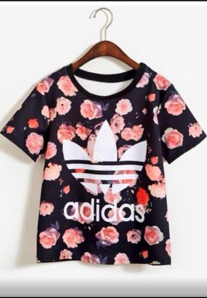 roses blouse adidas style shirt t-shirt floral shirt fashion athletic pink flowers adidas shirt