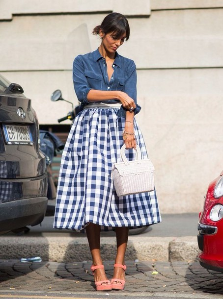 Bag: pink sandals, basket bag, white bag, skirt, midi skirt, blue ...