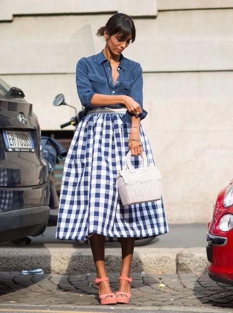 bag pink sandals basket bag white bag skirt midi skirt blue skirt checkered skirt checkered shirt blue shirt sandals platform sandals streetstyle spring outfits
