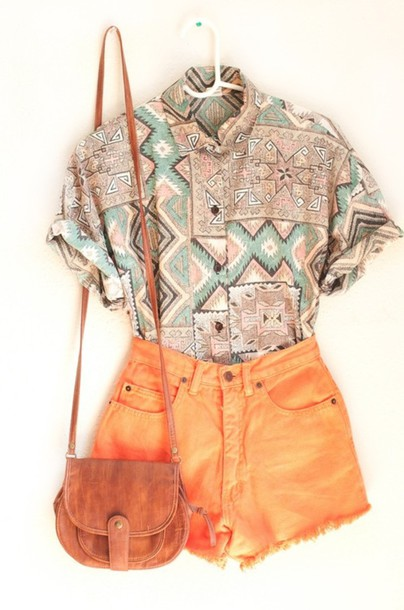 Shirt Aztec Aztec Shirt Vintage Button Up T-shirt Shorts Printed Shirt Tribal Pattern ...