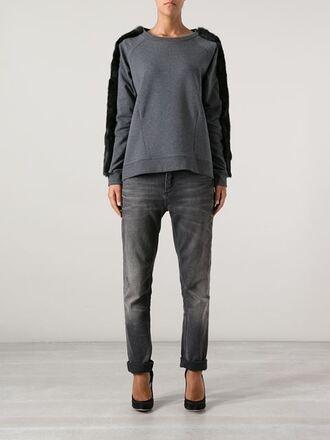 sweater faux fur navy grey sweater grey faux fur trim