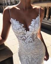 dress,white,floral,lace dress,lace,white dress,spaghetti strap,diamonds