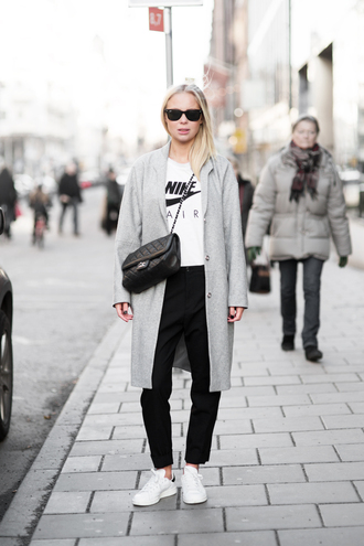 victoria tornegren blogger grey coat white sweater casual