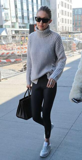 shoes sneakers gigi hadid model off-duty sunglasses turtleneck sweater sweater leggings winter sweater