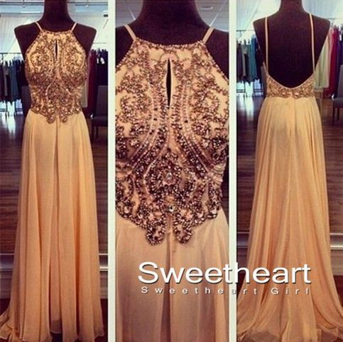 Sweetheart Girl | A line Chiffon Backless Beading, Sequin Long Prom Dresses | Online Store Powered by Storenvy