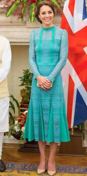 dress,midi dress,lace dress,kate middleton,spring dress,pumps,green dress,princess,royalty