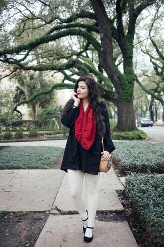 noelles favorite things blogger dress tights bag scarf