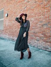 dress,tumblr,midi dress,printed dress,boots,ankle boots,velvet,velvet boots,red boots,hat,felt hat,long sleeves,long sleeve dress