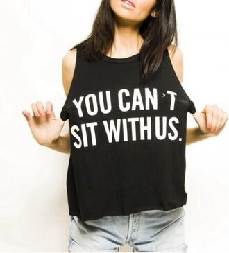 cotton harajuku loose t-shirt sleeveless funny tshirt teesh you cant sit with us