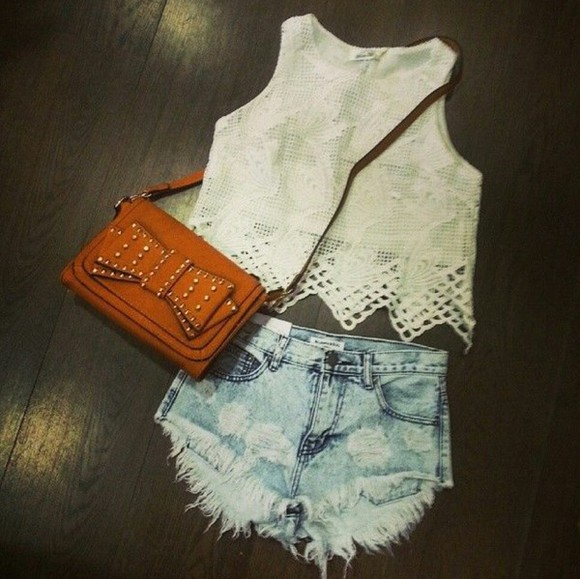bag studs whitelacetanktop jeanshorts crossbodybag