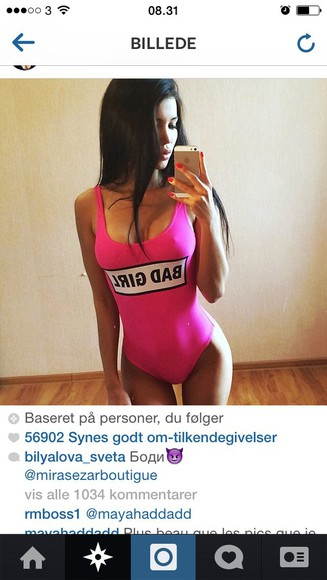 swimwear pink badgirl