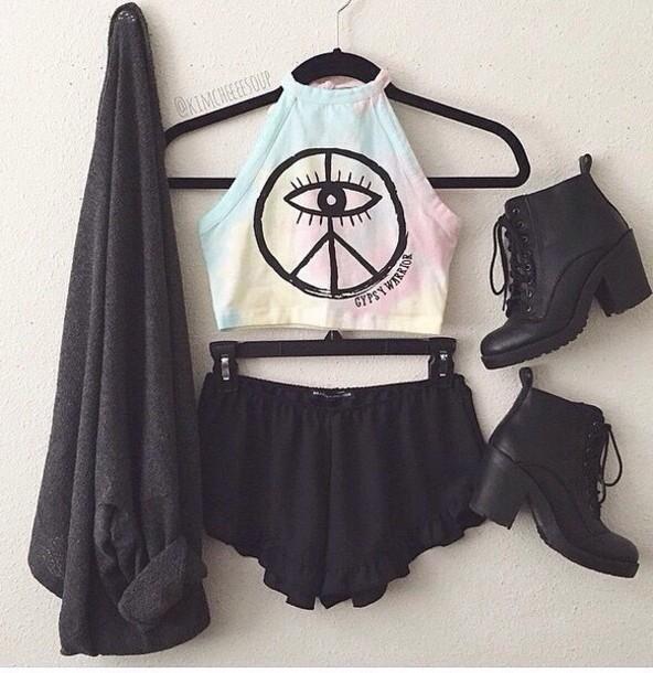 top peace hippie tie dye shirt tank top tumblr pale
