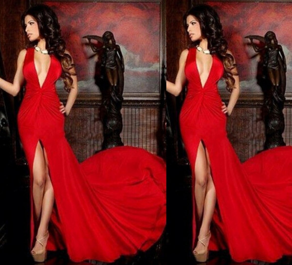 slit prom dress red dress v neck