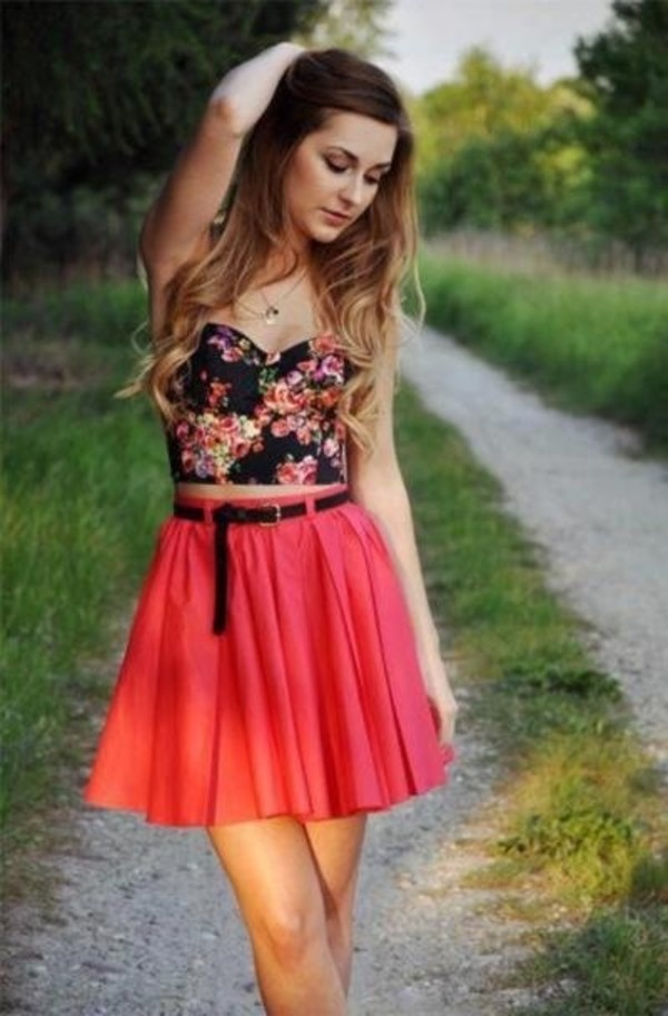 dress skirt bralette top floral bustier skater skirt coral summer time shirt floral tank top floral bustier floral shirt floral top pink skirt belt skirt with belt summer summer outfits pretty pretty outfit jewels
