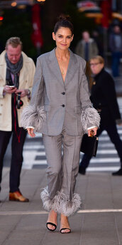 jacket,blazer,suit,pants,katie holmes,celebrity,feathers