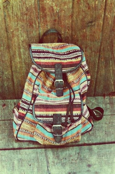 cloth bag backpack pattern black aztec stripes school boho indie blue brown red