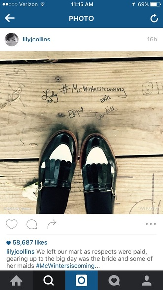 shoes lily collins leather shoes black and white boyish loafers