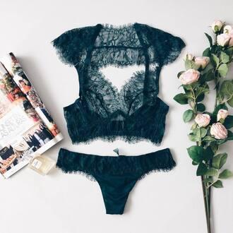 underwear tumblr bralette lace bralette black panties panties flowers magazine black underwear seethrough underwear lingerie set lace lingerie petrol emerald green