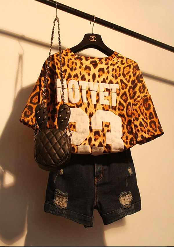 shirt t-shirt shorts ripped shorts leopard print animal print bag summer outfits summer top top number tee number shirt bunny