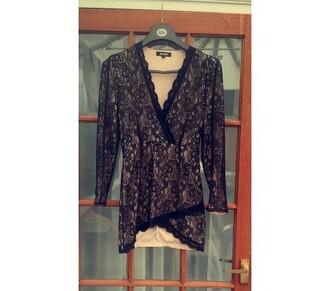 dress mini dress missguided missguided dress lace dress cross over dress wrap dress little black dress black and nude dress