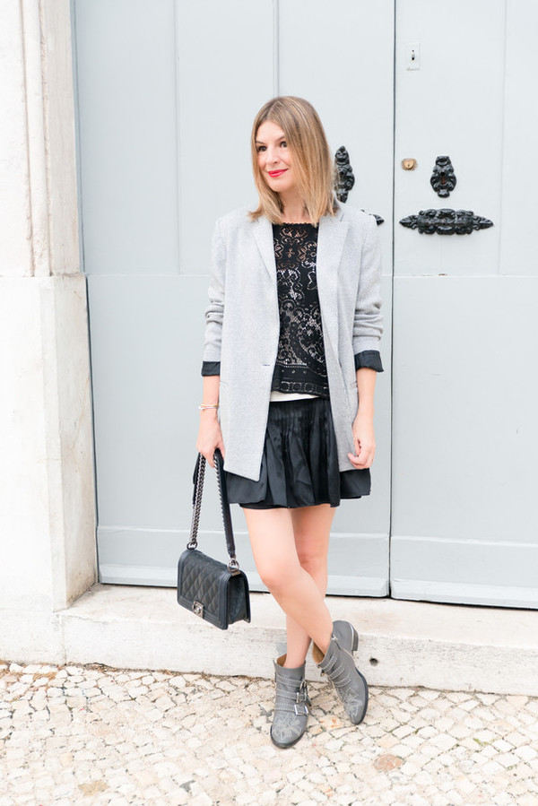 the working girl blogger jacket top skirt shoes bag jewels