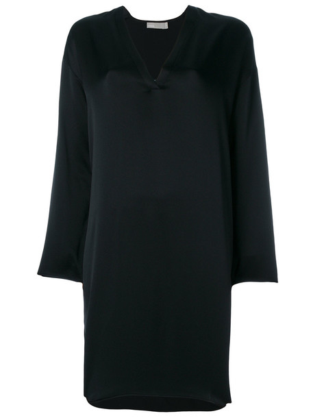 dress tunic dress women black silk