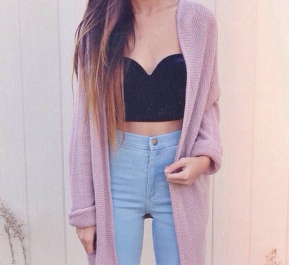 knitted cute cardigan jacket pink jeans highwaisted shorts light wash crop tops winter outfit sweater tank top top black