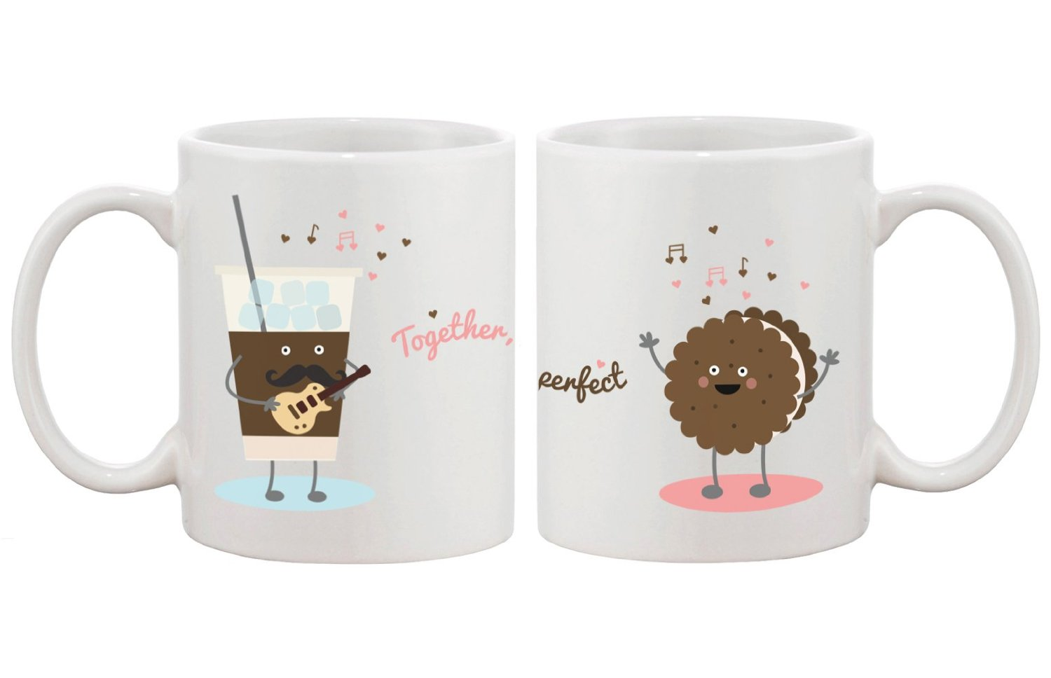 Amazon.com: Ice Coffee Cookie Matching Couple Mugs - Perfect Wedding, Engagement, Anniversary, and Valentines Day Gift for Newlyweds: Kitchen & Dining