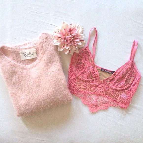 pink underwear bra lace crop tops bralette bra top coral