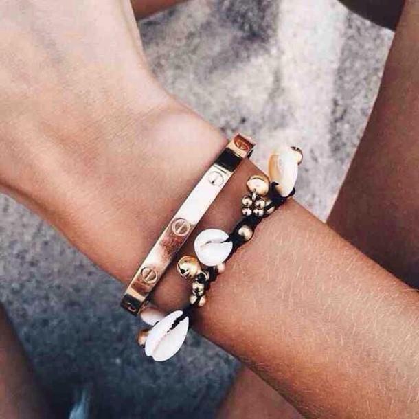 jewels gold peace summer beach shell bracelets bracelets tribal pattern coastal hippie bohemian spring break beach wedding sea creatures black bracelets shell boho love seashell jewelry