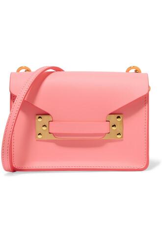 bag shoulder bag leather pink bright